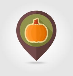 pumpkin flat pin map icon vegetable vector image