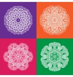 Set of White Mandala on the Color Backgrounds vector image vector image