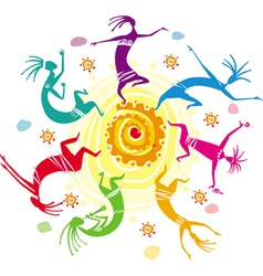 color figures dancing in a circle vector image