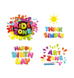 Cute design for kids art zone happy birthday vector