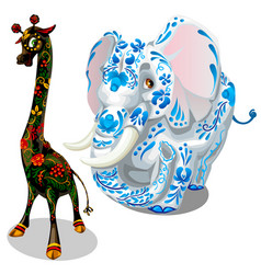giraffe and elephants painted figurines vector image vector image