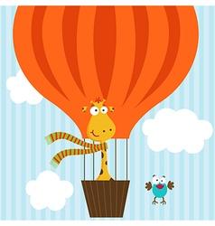 giraffe bird on hot air balloon vector image vector image