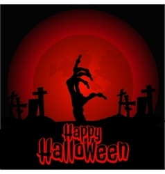 Hand zombie in the cemetery on Halloween vector image
