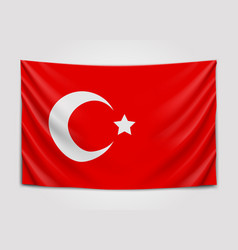 hanging flag of turkey republic of turkey vector image vector image