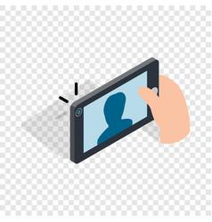 man taking selfie photo on smartphone isometric vector image