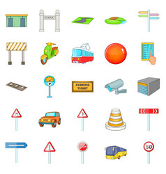map navigation icons set cartoon style vector image