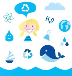 recycle water icons vector image vector image