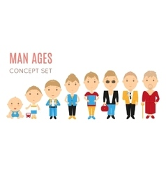 Set of casual man age flat icons vector image