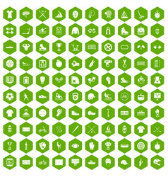 100 sport team icons hexagon green vector