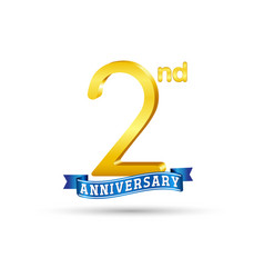 2nd golden anniversary logo with blue ribbon vector