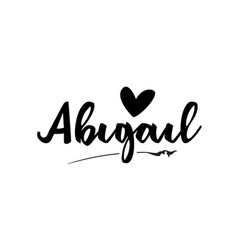 Abigail name text word with love heart hand vector