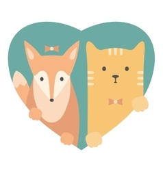 Animal set Portrait of a fox and cat in love vector