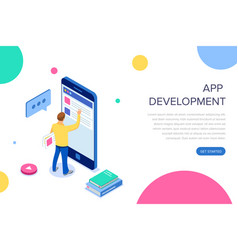 app development isometric businessman using vector image