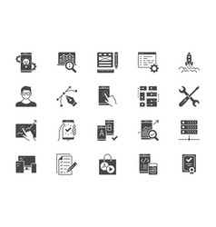 application development flat icons vector image