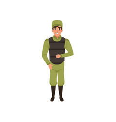 Army trooper wearing green uniform cap and vector