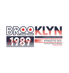 athletic brooklyn new york brooklyn typography des vector image