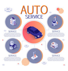 Banner with isometric infographic for auto service vector