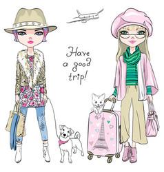 Beautiful fashion girls travel the world vector