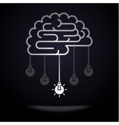 Brain with light bulbs vector image