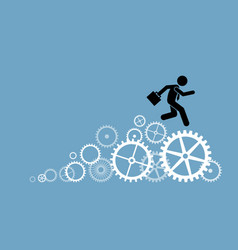 businessman business person running on cogwheels vector image