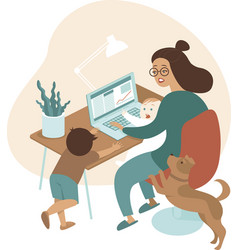 busy mother working from home with kids and dog vector image