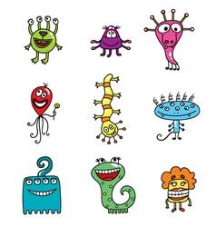 cartoon color aliens vector image