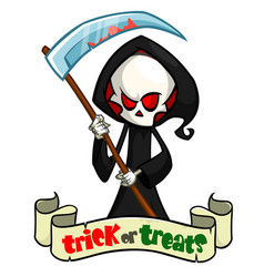 Cartoon grim reaper with scythe isolated vector