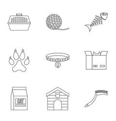 Cat toys icons set outline style vector