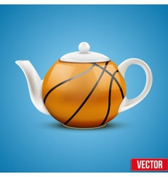 Ceramic Teapot In Basketball Ball Style vector