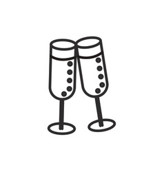 cheerswine glasses line icon sign vector image