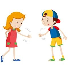 Children playing rock scissors paper vector