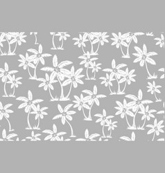 coconut palm tree tropical seamless pattern gray vector image