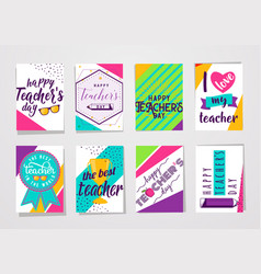 Color happy teachers day vector