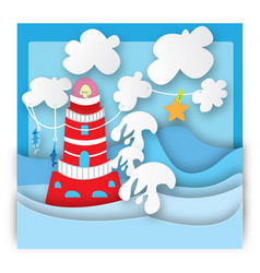 colorful lighthouse in a storm vector image vector image