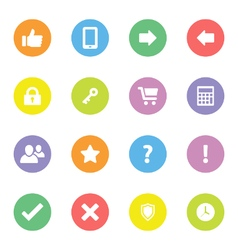 Colorful simple flat icon set 2 on circle vector