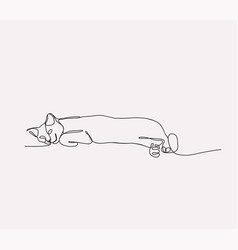 continuous line drawing of cat lying vector image