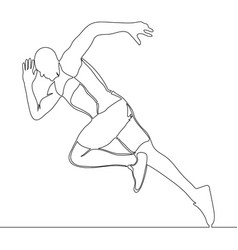 continuous one line drawing of athlete running vector image