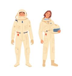 Cosmonaut astronaut spaceman man woman characters vector