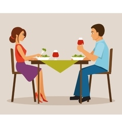 Couple having dinner vector