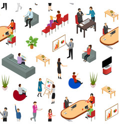 coworking people and equipment 3d seamless pattern vector image