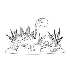 cute apatosaurus with eggs vector image