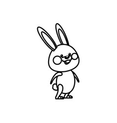 Cute bunny easter concept line vector