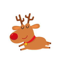 cute cartoon reindeer with red nose sleep cartoon vector image