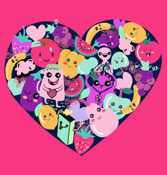 cute kawaii fruit and vegetable icons in heart vector image