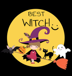 cute sweet witch halloween cartoon vector image