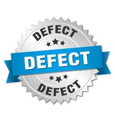 Defect round isolated silver badge vector