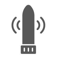 Dildo vibrator glyph icon sex toy and adult vector