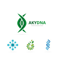 dna and genetic logo combination vector image vector image