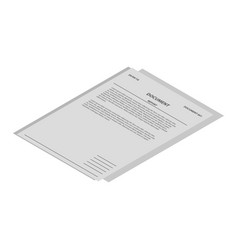 document report icon isometric style vector image