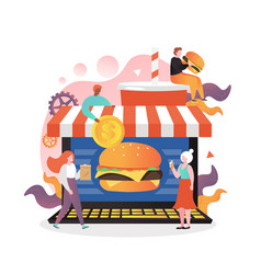 Fast food online concept for web banner vector